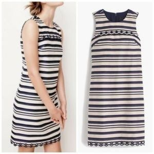 J. Crew Striped Scalloped Edge Groomet Shift Dress